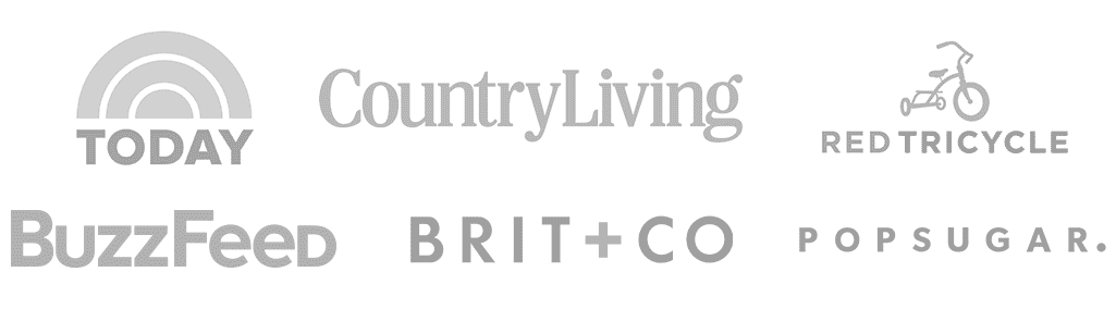 Press Logos: Today, Country Living, Red Tricycle, BuzzFeed, Brit+Co, PopSugar